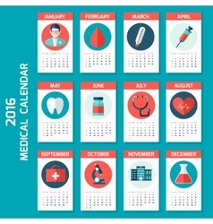 Medical calendar for new 2016 year week starts on vector