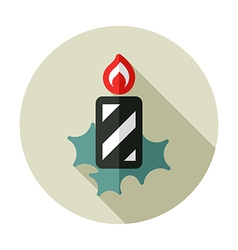 Christmas candle flat icon vector