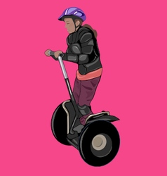 Girl wearing body armour and helmet on a segway vector