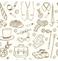 Gentlemans vintage accessories doodle seamless vector image