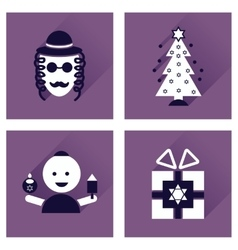 Concept of flat icons with long shadow hanukkah vector