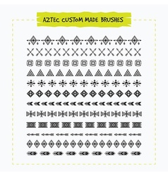 Decorative aztec sing and symbol brush set vector
