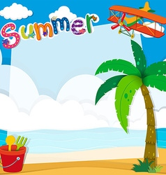 Border design with summer on the beach vector