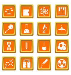 Chemical laboratory icons set orange vector