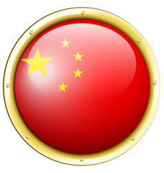 China flag on round badge vector