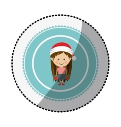 Color circle with middle shadow sticker with girl vector