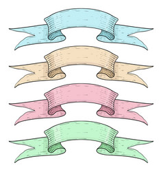 colored ribbon banners blue brown pink and vector image vector image