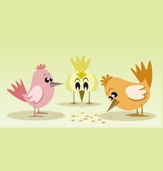 cute and colorful little birds vector image vector image