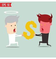 Devil and angel snatching money - - eps10 vector