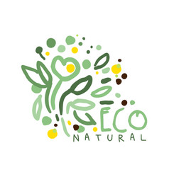 Eco natural label logo graphic template hand vector