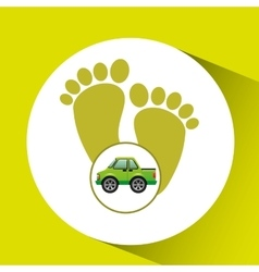 Green ecology car footprint concept vector