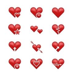 Heart love emoji emoticons set vector