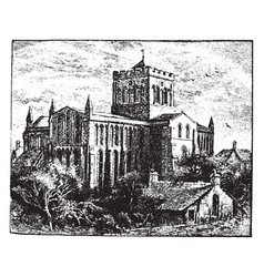 hexham abbey vintage vector image vector image