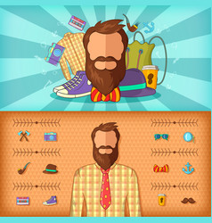 Hipster man banner set horizontal cartoon style vector