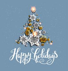 holiday gold tree vector image