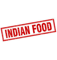 Indian food red square grunge stamp on white vector
