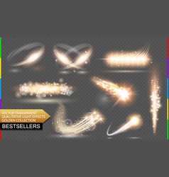 Isolated golden flare transparent light vector