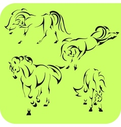 Light Horses - set Vinyl-ready vector image vector image