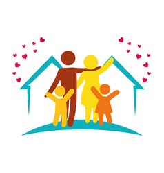 Lovely family together home vector