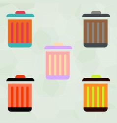 Metal garbage can set vector