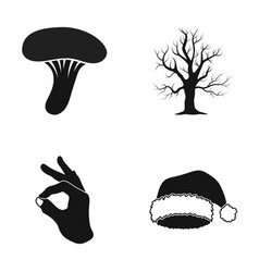 Mushroom withered tree and other web icon in vector