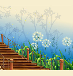 Nature scene with wooden bridge vector
