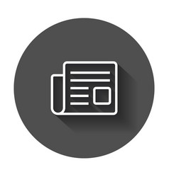 Newspaper flat icon news symbol logo on black vector