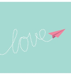 Origami paper plane in the sky Love card vector image vector image
