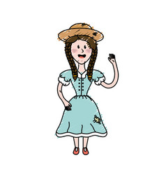 Pretty woman with hat and dress vector