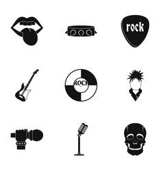 rock music festival icon set simple style vector image