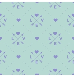 Seamless pattern with arrow heart and word Love vector image vector image