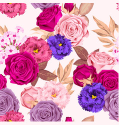 Seamless pattern with phloxes and roses vector