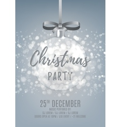 Silver Christmas party flyer with glass ball vector image
