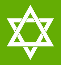 Star of david icon green vector