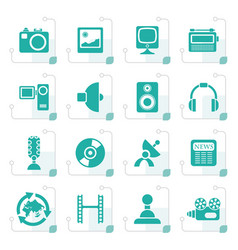 stylized media and household equipment icons vector image vector image
