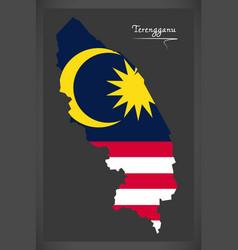 terengganu malaysia map with malaysian national vector image vector image