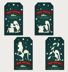 Vintage christmas gift tags with cute elf vector