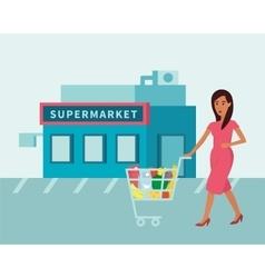 Woman in supermarket food shop with shopping cart vector
