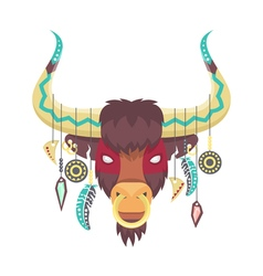 Bull or ox in ethnic or tribal style animal totem vector