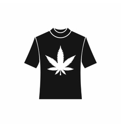 T-shirt with print of cannabis icon simple style vector