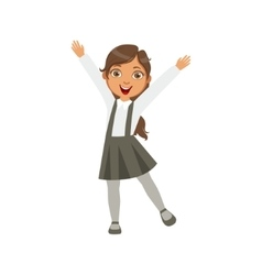 Girl in black skirt with suspenders happy vector