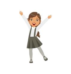 Girl In Black Skirt With Suspenders Happy vector image