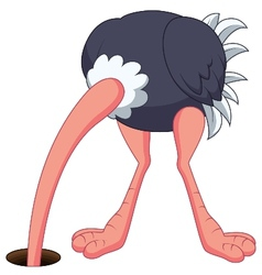 Ostrich cartoon hiding its head in the hole vector
