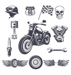 Vintage motorcycle elements collection vector