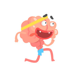 Athletic humanized cartoon brain character running vector