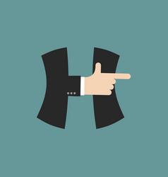 H letter businessman hand font it shows finger vector