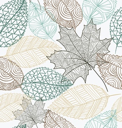 Sketch style leaves seamless pattern background vector