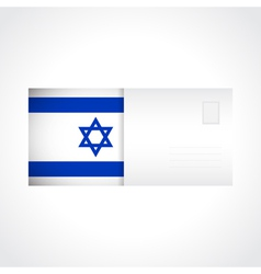Envelope with flag of israel card vector