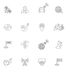 Mobile navigation icons outline vector
