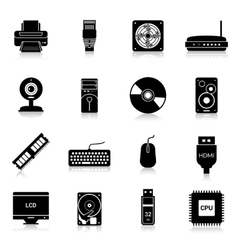 Computer parts icons black vector